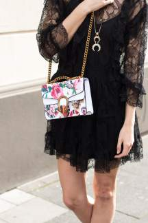 Malia Keana ruffle lace dress gucci bag boho