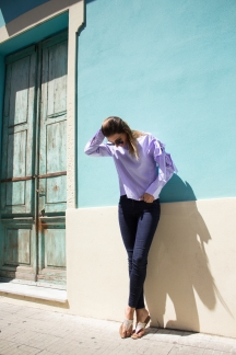 Bow Blouse denim Jeans Malia Keana Fashion Blogger Bosa Sardinien