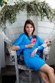 Malia Keana Blog Stylist blue dress hibiscus