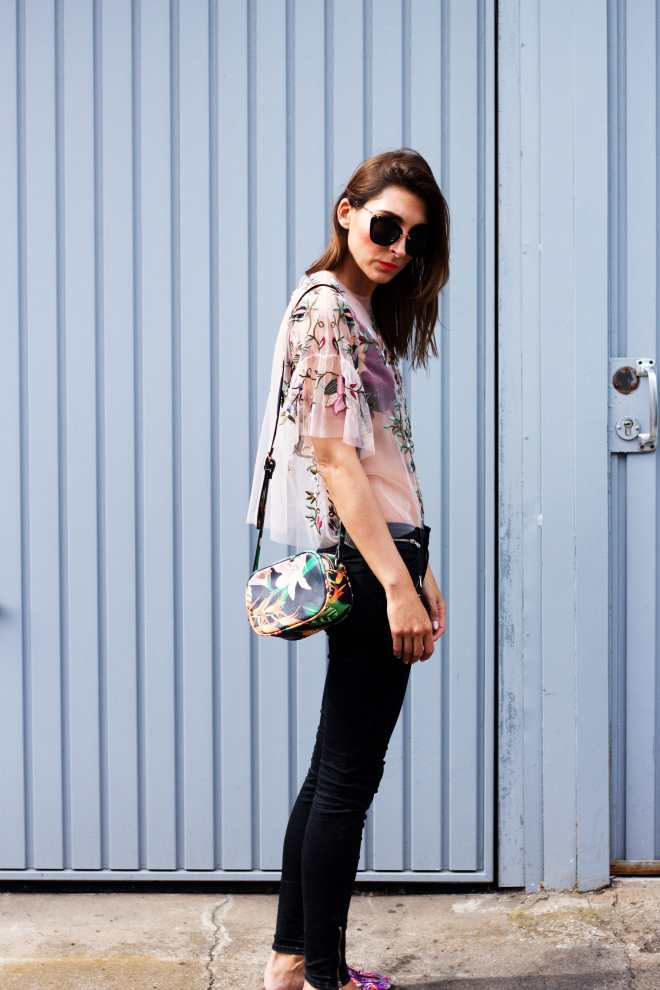 Floral blouse pink flats jeans Malia keana