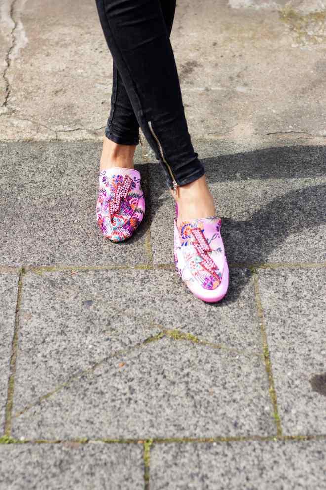 Floral blouse pink flats jeans Malia keana