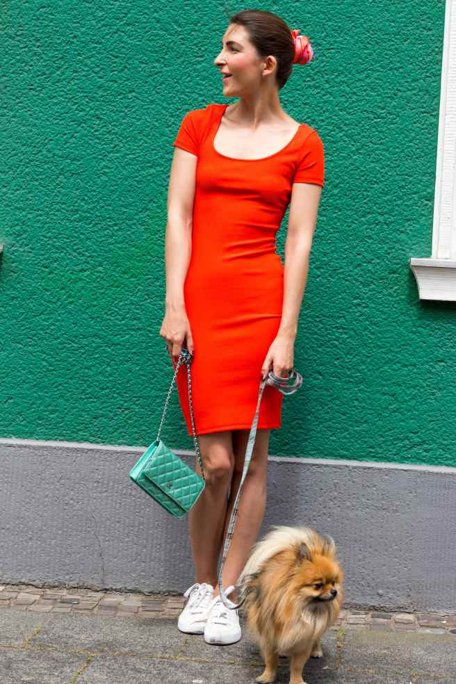 Tomato Red Dress Chanel Bag Malia Keana