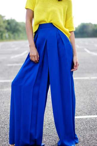 Street Style colour blocking palazzo pant Malia Keana