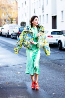 Floral Puffer Jacket H&M Street Style
